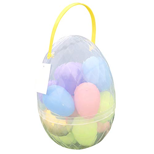 Jumbo Easter Egg Container with 17 Large Plastic Easter Eggs including one Golden Egg Easter Set - Perfect Easter Bucket for Easter Egg Hunt, Easter basket, and Easter Prizes ()