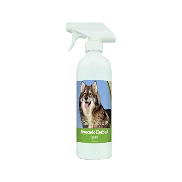 Healthy Breeds Avocado Herbal Dry Shampoo Spray the anti inflammatory properties hydrate cool and soothe damage coat and skin.  Relief from dry skin flea bites and other skin irritations 17oz 1