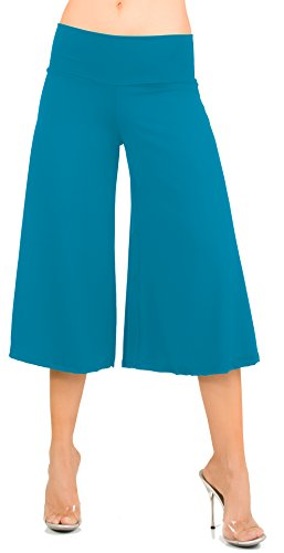Hot Fash Flowy Soft Gaucho Pants Made in The USA 25 Colors Available - Capris (X-Large, Ocean) ()