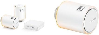 Netatmo NVP-ES, Paquete de Inicio Para Calefacción Colectiva + 3 Netatmo NAV-ES Válvula Inteligente Adicional para Radiador, Multicolor
