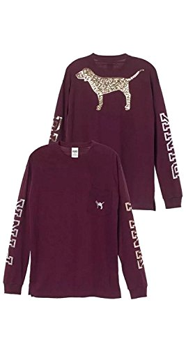 Victoria's Secret PINK Campus Bling Long-Sleeve Tee, Black Orchid/sequin puppy, Small