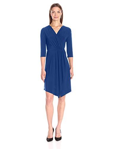 Star Vixen Women's Plus Size 3/4 Sleeve Surplice Wrap Bodice Short Ity Knit Ballerina Dress with Tulip Wrap Skirt and Handkerchief Hem, Royal, 1X