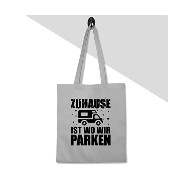 31Zj 4jG2ZL Shirtracer - Hobby Outfit - Zuhause ist wo wir parken - schwarz - Stoffbeutel aus Baumwolle Jutebeutel lange Henkel