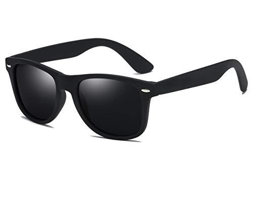 SIKYGEUM Polarized Sunglasses for Men Women Retro Wayfarer Black HD Vision ()