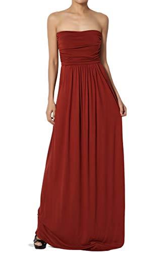 TheMogan Women's Strapless Draped Jersey Pocket Long Maxi Dress Brick L