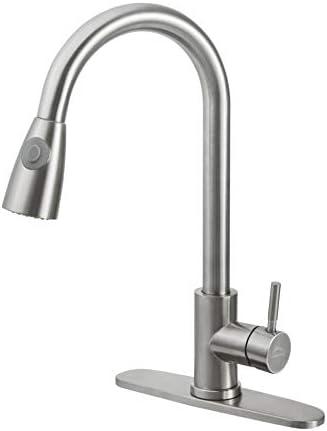 LEADALLWAY Kitchen FaucetSingle Handle Single Level Stainless Steel Kitchen Sink FaucetsPull Down Sprayer