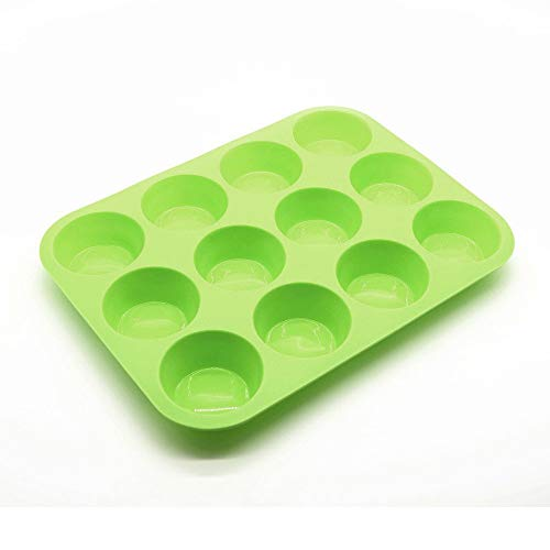 xatos Cake Mold Round Set 12 Cup Silicone Muffin Cupcake Baking Pan Non Stick Dishwasher Microwave Safe Cupcake Mold Mini ()