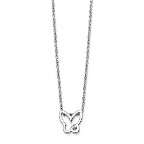 ICE CARATS 925 Sterling Silver Diamond Butterfly Chain Necklace Animals/insect Fine Jewelry Ideal Mothers Day Gifts For Mom Women Gift Set From (Diamond Set Butterfly Pendant)
