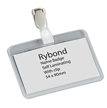 Rybond Name Badges Security Landscape with Plastic Clip 60x90mm Ideal for  Name Id Badges Security Conference [Pack 50]