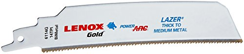 LENOX Tools 210946114GR Gold Power Arc Reciprocating Saw Blade, For Thick Metal, Medium Metal Cutting, 6-inch, 14 TPI, 5-Pack