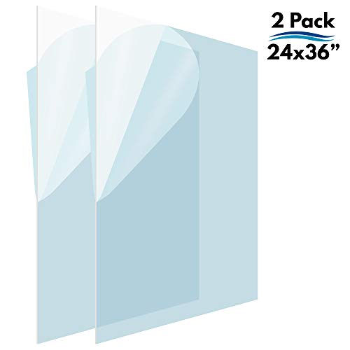 Icona Bay PET Plastic Replacement for Poster Frame or Picture Frame Glass (24 x 36, 2 Pack), PET is The Ideal Replacement Material to Avoid Shattering Glass