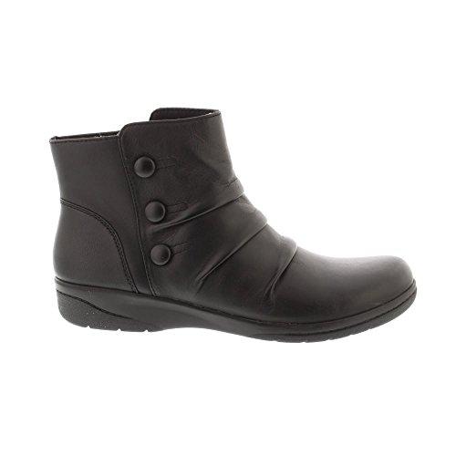 Clarks Womens Cheyne Anne Black Soft Leather Flat Ankle Boots Black gaSO4THV3