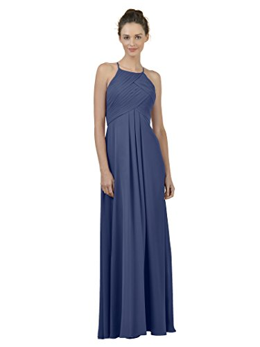 Alicepub Long Chiffon Bridesmaid Dress Maxi Evening Gown A Line Plus Party Dress, Navy, US8