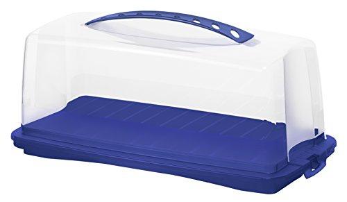 Rotho 1722506650 Kuchenbehälter Kuchenbutler rechteckig Fresh aus Kunststoff (PP), mit sicherem Verschluss und bequemem Tragegriff, ca. 36 x 16,5 x 16,5 cm, blau/transparent