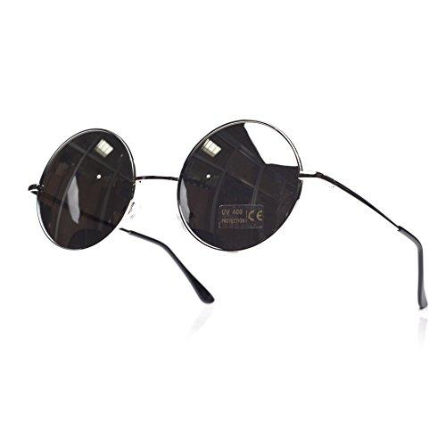 ochentero lennon diseño con unisex cristales mirror 4sold TM de silver Gafas Negro ahumados sol negro wHx8qCp7