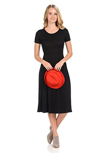 (iconic luxe Women's Short Sleeve Pleated Midi Dress with Pockets X-Large)