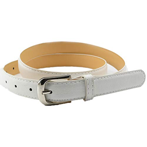 Mljsh Women Skinny White Leather Belt with Silver Polished Square Pin Belt Buckle - Solid Color PU Leather Belts size S