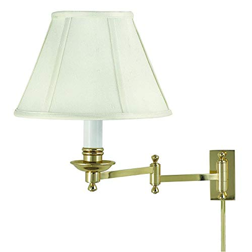 (House of Troy LL660-PB Library Lamp Collection Swing Arm Wall Lamp Polished Brass with Off-white Softback Shade)