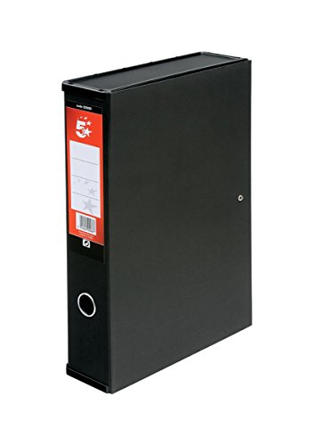 5 Star (Pack of 5) Office Box File Lock Spring with Ring Pull and Catch 70mm Spine Foolscap Black