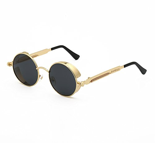 DAWILS Women's Round Retro Polarized Sunglasses John Lennon Style Circle Metal Spring Frame Eyewear Steampunk Hippie Mirror Eyeglasses - Large Lennon Style Sunglasses