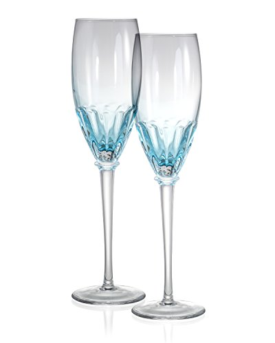 Danesco Mouth Blown Color Infused 8.5 ounce Champagne Flutes - Blue - Set of 2]()
