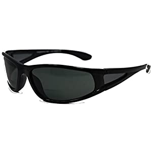 In Style Eyes Del Mar Polarized Wrap Nearly Invisible Line Bifocal Sunglass Readers/Glossy Black/1.50 Strength