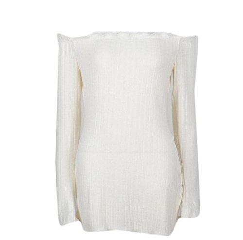 Off Solid Flouncing Comfy Knitting Dress Slim Shoulder Women Length Mid Pattern2 qIg45wx47