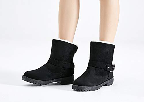 Altas Invierno El De Europa Tobillo Liangxie Botas Warm Tubo Hebilla Mujer Moda Shoes Y Combate Nieve Martens Cinturón Trend Negro Cotton Para Corto 5Axqvwq