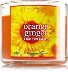 Bath and Body Works 14.5 Oz Scented 3-wick Candle Orange Ginger Aromatherapy. New for 2015