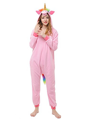 Unisex Adult Pajamas Christmas Costume Snorlax One Piece Pajamas Stitch Onesies Cosplay Unicorn Pink XL