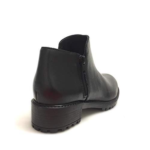 Vera Gar Donna Shoe Zip Made Doppia Pelle Con Nero Italy Stivaletti Neri In Carrarmato 8AAdp