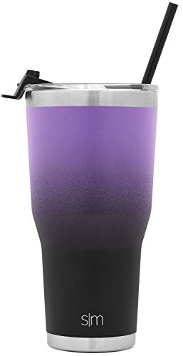 Simple Modern 30oz Cruiser Tumbler with Straw & Closing Lid Travel Mug Gift Double Wall Vacuum Insulated - 18/8 Stainless Steel Water Bottle Ombre: Violet Sky