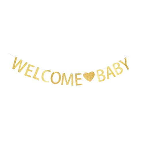 INNORU Welcome Baby Banner - Gold Letters Bunting - Baby Shower Party Gender Reveal Party Decorations