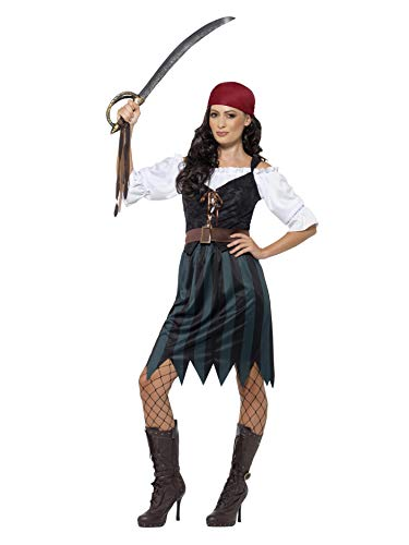 Smiffys Women's Pirate Deckhand Costume,  Shirt, Mock Waistcoat, Skirt, Belt & Bandana, Pirate, Serious Fun, Size 14-16, ()