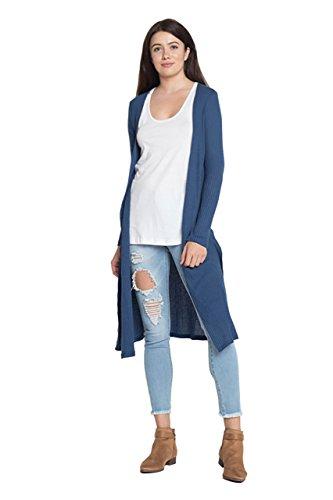 GAAM Women's Longline Ribbed Knit Cardigan BLUE M