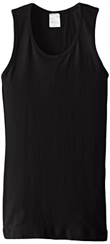(Clementine Big Girls' Everyday Wide Strap Tank Top, Black, 10/12/Medium)
