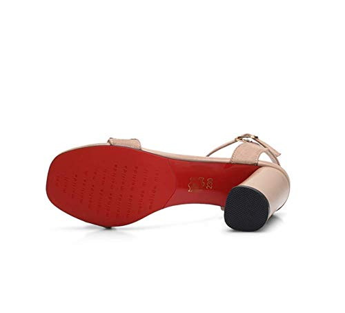 Partys Damen Serie Aprikose mit LIANGXIE Klettverschluss Kopf quadratischem Sandalen mit Zhzz Komfort Hochzeiten für Klassische RfpZnqBW