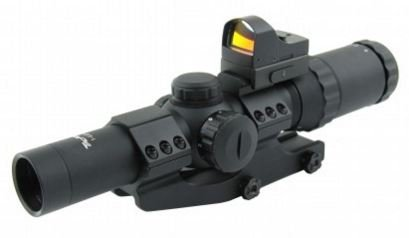TacFire 1-4 x 24mm Tactical Rifle Scope Green/Red/Blue Illuminated, P4 Sniper Reticle with Mini Red Dot