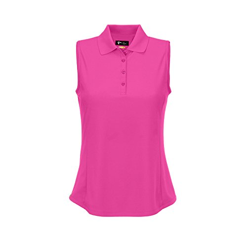 Greg Norman Womens Protek Micro Pique Sleeveless Polo Light Pink M