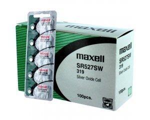 Oxide Silver 319 Battery Watch (100 pc Maxell SR527SW SR64 319 SR527 Silver Oxide Watch Battery)