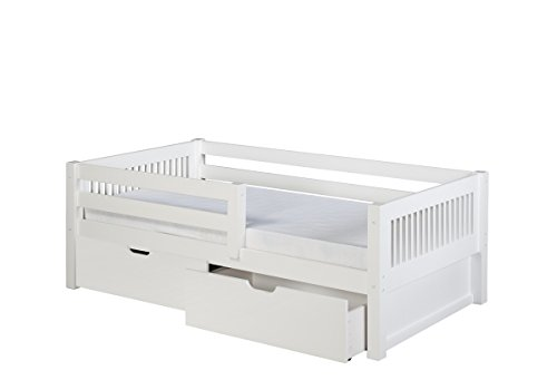 (Camaflexi Mission Style Solid Wood Day Bed with Drawers and Front Rail Guard, Twin, White)