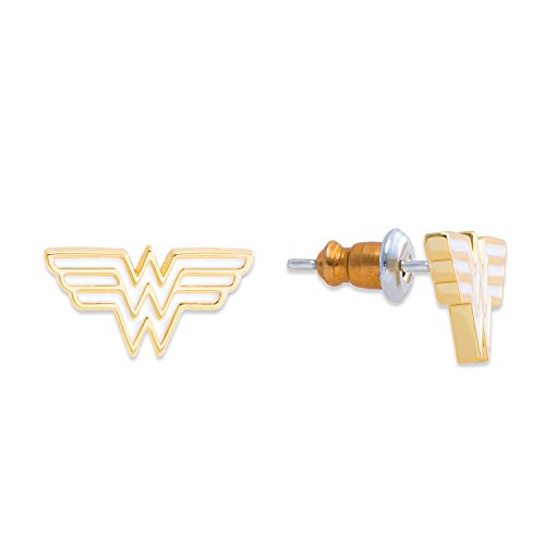 DC Comics Women's and Girls Jewelry Wonder Woman Yellow Gold Plated Logo Stud - Wonder Woman Earrings