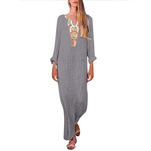 iHPH7 Women Short Sleeve Loose Plain Maxi Dresses Casual Long Dresses Printed Long Sleeve U-Neck Maxi Dress Split Hem Baggy Kaftan Long Dress (XXXL,3- Dark Gray)