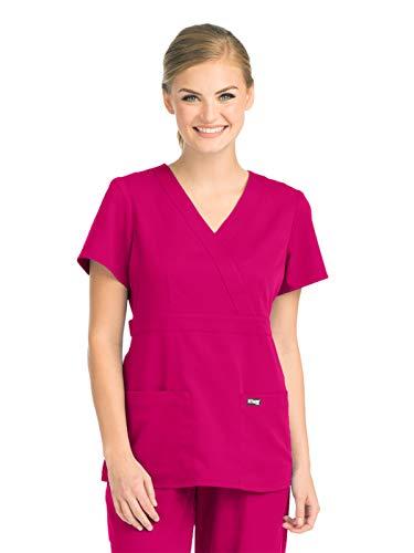 Top Nurse Scrub - Grey's Anatomy 4153 Women's Mock Wrap Top Raspberry Tart 2XL