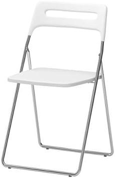 Ikea Nisse - Silla, de Alto Brillo Blanco, Cromado Plegable ...