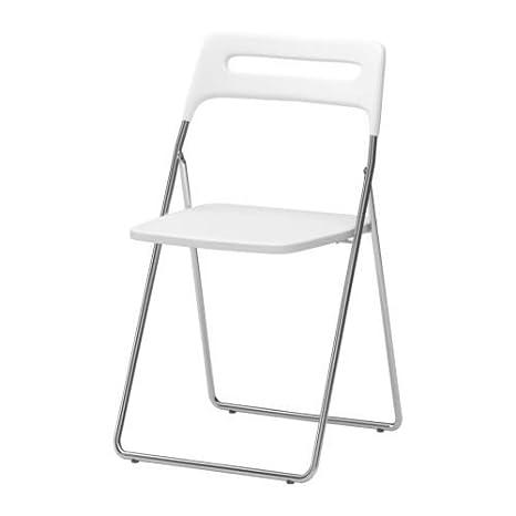 Ikea Nisse - Silla, de Alto Brillo Blanco, Cromado Plegable: Amazon.es: Hogar