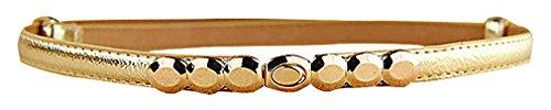 Maze, Women's Faux Leather 1.5 cm Wide Gilded Hook Buckle No Hole Girdle Belt, 2- One Size (1.5 Cm Leather Belt)