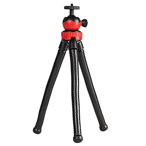 Shomex® Flexible Gorilla pod Tripod with 360° Rotating Ball Head Tripod for All DSLR Cameras(Max Load 1.5 kgs) & Mobile Phones + Free Mobile Holder(Black) (12 Inch, Black and Red)