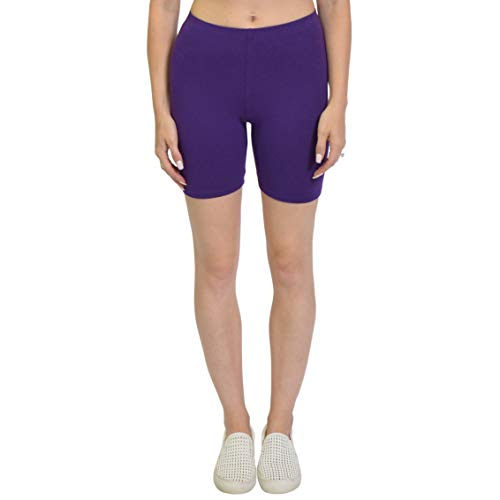 Stretch is Comfort Girl's Cotton Bike Shorts Purple X-Large
