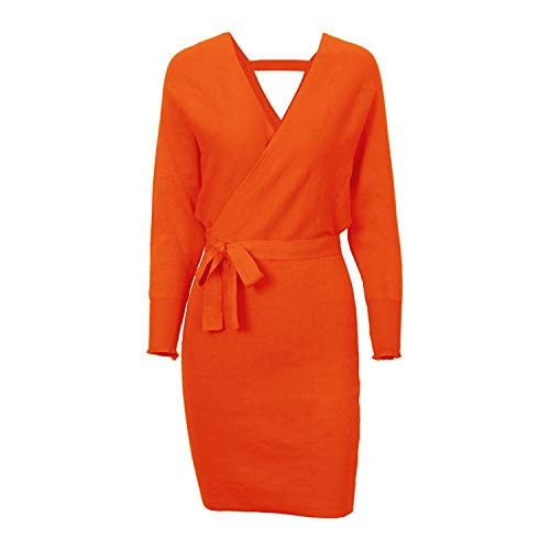 Winter Womens Cross V-Neck Mini Dresses Batwing Long Sleeve Knitted Sweater Dress,Orange,One Size